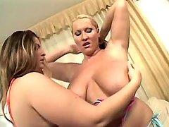 Chubby lesbians have fun w sextoys
