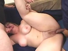 Lustful BBW w big tits in threesome