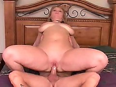 Horny chubby cutie screwed on bed
