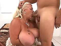 Chubby granny sucking cock of guy