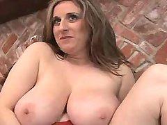 Lonely hot busty mature masturbates