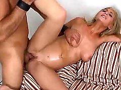 Sweet chesty hottie fucking on sofa