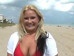 Lusty blonde plumper relax on beach