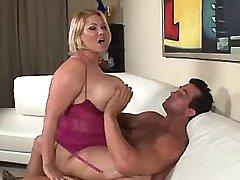 Lewd chubby mature rides fresh cock