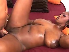 Guy fucks plump ebony with melons