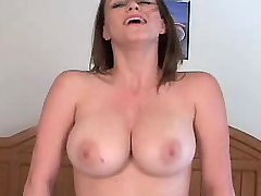 Beautiful busty hottie jump on dick