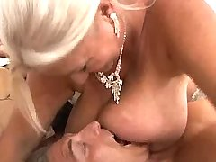 Plump old lady plays with huge tits