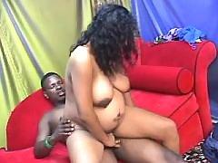 Black pregnant babe rides hard cock