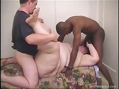 Mature fatty madisen gets a big cock interracial threesome