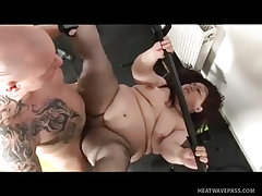 Chunky bbw slut banged with no respect on the gym floor