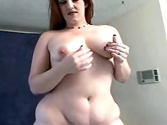 Fat lady in red flashing