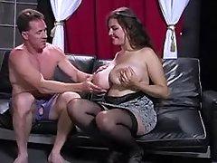 Fatty w big boobs blows hard dick
